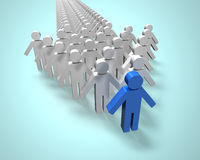 Blue 3D people in first position of arrow shape. Blue 3D people in first position of group in arrow shape Royalty Free Stock Images