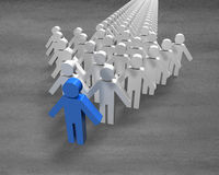 Blue 3D people shape in first position of arrow. On concrete ground Stock Image