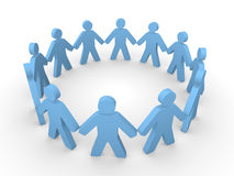 Blue 3d people standing in the circle. And holding hands together Royalty Free Stock Photos