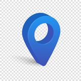 Blue 3d pointer of map isolated on transparent background royalty free illustration