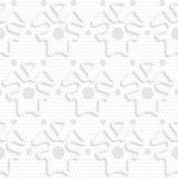 Blue 3d shapes on textured gray big and small dot pattern Royalty Free Stock Image
