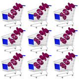 Blue 3D Shopping Cart Discount Stock Photography