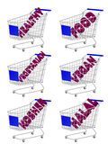 Blue 3D Shopping Cart Healthy Food Royalty Free Stock Photography