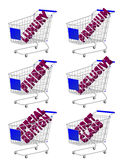 Blue 3D Shopping Cart Luxury Articles Stock Images