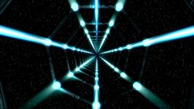 Blue 3D Space Tunnel with a Starry Background stock footage
