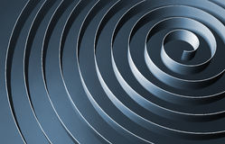 Blue 3d spiral with dark shadows, abstract illustration Royalty Free Stock Photography