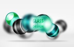 3d techno glass bubble design. Blue 3d techno glass bubble design, vector future hi-tech shapes with blurred effects Royalty Free Stock Image