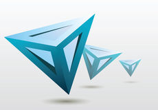 Blue 3d triangle shapes. Floating shapes illustration on light background Royalty Free Stock Photos
