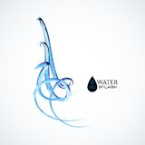 Blue 3D water splash isolated on white Royalty Free Stock Photography