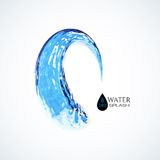 Blue 3D water splash isolated on white Royalty Free Stock Photo