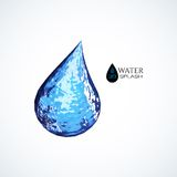 Blue 3D water splash isolated on white. Vector background Stock Photography