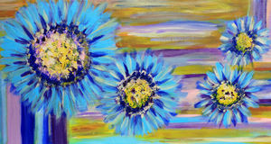 Blue Dairy Flowers Painting. Abstract expressionist floral blue daisies with warm and cool tones Stock Photo