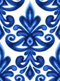 Blue damask floral medallion watercolor classic pattern Royalty Free Stock Photography