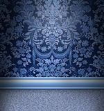 Blue Damask Room. Beautiful blue damask room with light blue carpet Stock Images