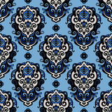 Blue Damask seamless vector pattern Stock Image