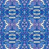 Blue damask tiles background. For wallpaper, backgrounds, decoration for your design, ceramic, page fill and more. Gorgeous seamless damask pattern from blue vector illustration