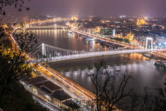 The Blue Danube. The Danube River passing through Budapest, with its emblematic bridges Royalty Free Stock Images