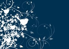 Blue dark background with birds Royalty Free Stock Photos