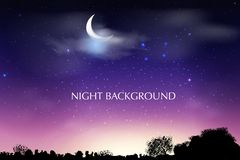 Blue dark Night sky background with half moon, clouds and stars. Moonlight night. Vector illustration. Milkyway cosmos background royalty free illustration