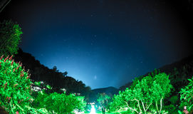 Blue dark night sky with many stars Stock Image