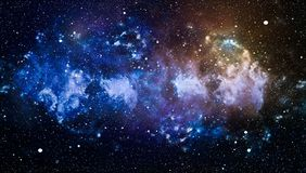 Deep space background with stardust and shining star. Milky way cosmic background. Star dust and pixie dust glitter space backdrop royalty free illustration