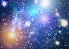 Stars, dust and gas nebula in a far galaxy. Stock Image