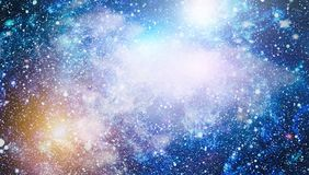 Stars, dust and gas nebula in a far galaxy. Royalty Free Stock Images