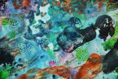 Blue dark pink orange paint, soft mix colors, painting spots background, watercolor colorful abstract background. Watercolor painting soft vivid abstract spots stock illustration