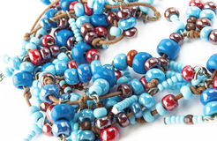 Blue and dark red glass beads Stock Photography