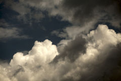 Blue dark sky with clouds.  stock images