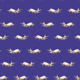 Blue dark watercolor seamless pattern of white pear planes flying in different directions of the world behind the cargo. Logistic stock illustration