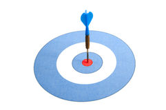 Blue dart. On a blue and red dartboard Stock Images