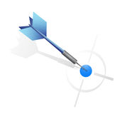 Blue dart hitting the target. illustration design Royalty Free Stock Photography