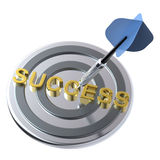 Blue dart on the target with success text on it. Royalty Free Stock Images
