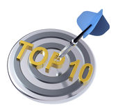 Blue dart on the target with TOP 10 text on it Royalty Free Stock Photos