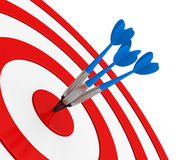 Blue dart on red target close up royalty free stock image image