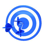 Blue darts target aim and arrow Stock Photo