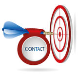 Blue darts target aim. Successful shoot with contact banner. Business target marketing concept. Can be used for workflow layout, banner, diagram, web design Royalty Free Stock Photography