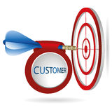 Blue darts target aim. Successful shoot with customer banner.. Business target marketing concept. Can be used for workflow layout, banner, diagram, web design Royalty Free Stock Image