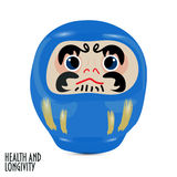 Blue Daruma doll or dharma doll vector illustration. Royalty Free Stock Photography