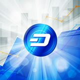 Blue Dash cryptocurrency in the bright rays on background with s Stock Photography