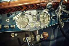 Blue dashboard of a vintage car Royalty Free Stock Images