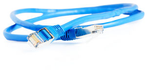 Blue data cable. Blue shielded copper data cable, selective focus, over white background Stock Photo