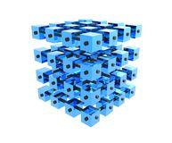 Blue Data Cubes Bonded. Abstract blue data cubes bonded toghether with pipes, representing electronic data, database, data mining, data warehouse, data Stock Photo