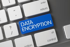 Blue Data Encryption Button on Keyboard. 3D. Royalty Free Stock Photo