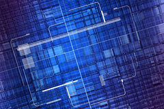 Blue data grid display screen. Digital illustration of computer dispaly interface over a grid of transparent cubes Royalty Free Stock Photography