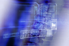 Blue data grid display screen Royalty Free Stock Image