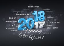 Happy New Year 2018 Greeting Card. Blue date 2018 above 2017 and Happy New Year greetings in multiple languages, on a festive black background - 3D illustration Royalty Free Stock Image