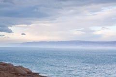 Blue dawn on Dead Sea coast Royalty Free Stock Photo