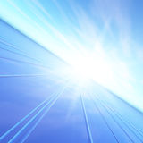 Blue Dawn Flash Horizon. An illustration of a blue dawn sun flash sending light down a high speed grid.  Abstract concept to future forward thinking Royalty Free Stock Image